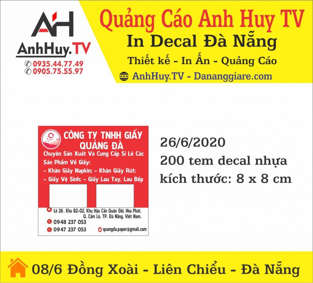In Nhãn Dán Tem Nhãn Công Ty TNHH Giấy Quảng Đà 0935447749 Anh Huy TV
