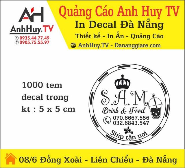 In Ấn Quảng Cáo Logo Tem Nhãn Đà Nẵng Mẫu Sam Drink Food