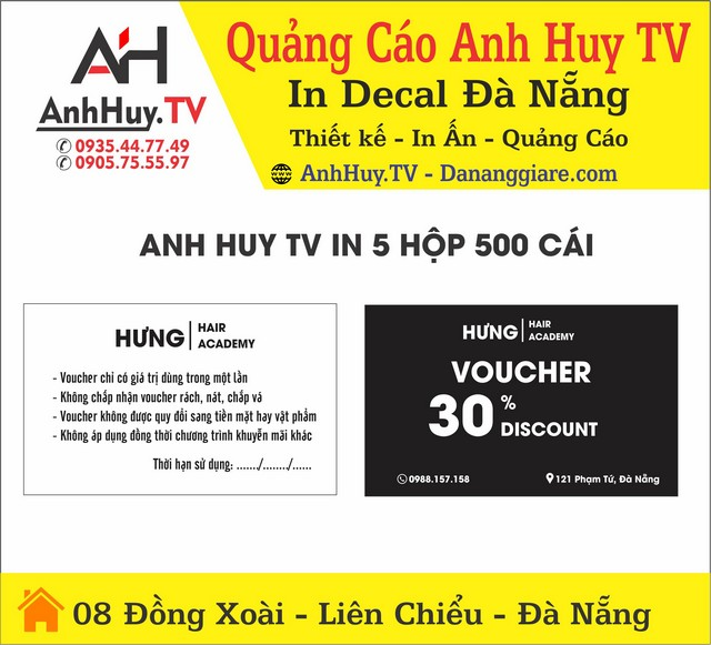 In Name Card Voucher Hưng Hair Acedemi Phạm Tứ Đà Nẵng