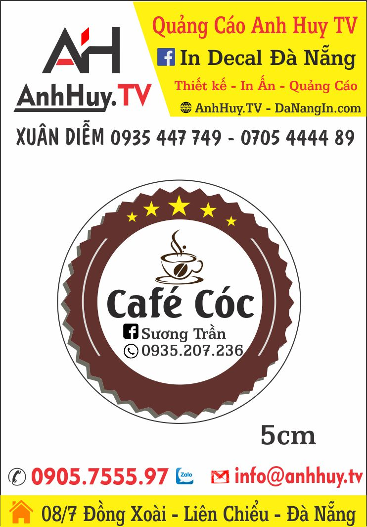 In Logo Tem Nhãn Dán Chai Cafe Đà Nẵng Giá Rẻ