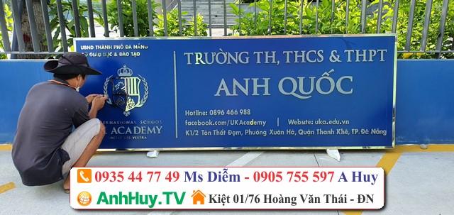 Làm Bảng alu chữ inox, đế mica Trường TH THCS THPT Anh Quốc UK Academy 0935447749