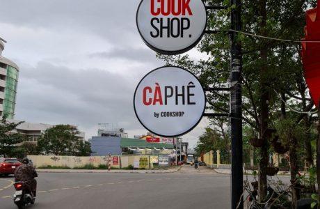 Bảng hiệu hộp đèn tròn mica Cook Shop Cà Phê Đà Nẵng 0905755597