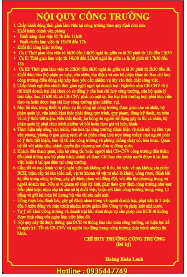 Tổng hợp mẫu bạt bảng hiệu nội quy công trình tại Đà Nẵng giá rẻ số 1