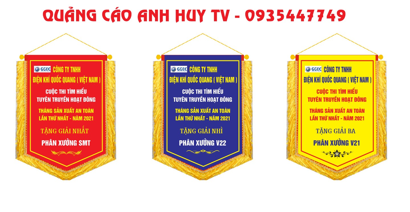 Làm cờ lưu niệm công ty điện khí quốc quang Việt Nam
