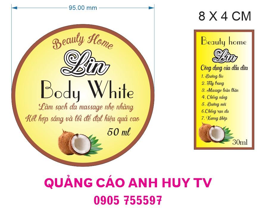 In tem nhãn dán dầu dừa tại Đà Nẵng